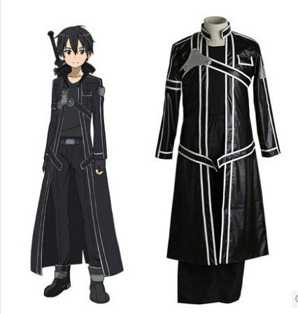 Fantasias sword art online costume Kirigaya Kazuto cosplay costume for men Leather Trench Coat anime clothes carnival costume