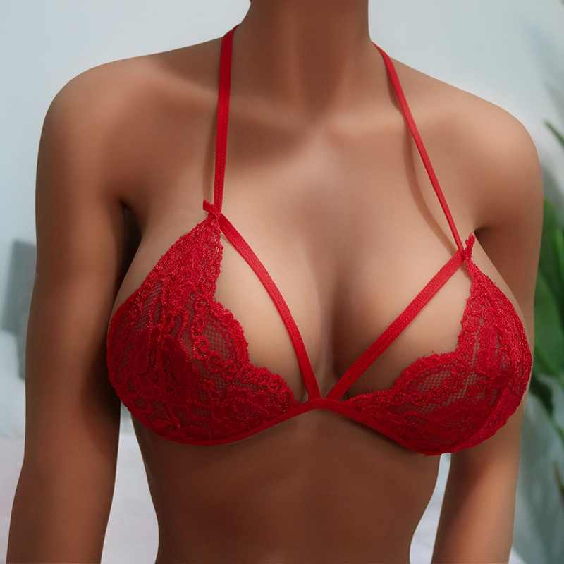 Women Sexy Lingerie Three-Point Lace Straps Harness Sex Sexy Hanging Neck Low Chest Back Bra