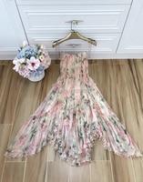 Fashion 2018 Collection Prima Hydrangea Floating Ruffle Strap Dress Peach Floral 100% Silk Panelled Asymmetric Hem Midi Dress