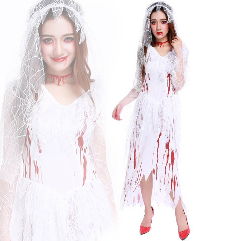 corpse bride halloween costumes cosplay 2016 ghost bride women white bloody long dresses fancy party carnival - Halloween Costumes Prices