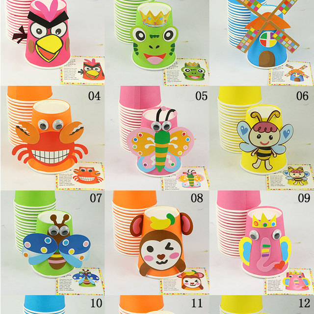 Handmade Paper Animal Cups Set