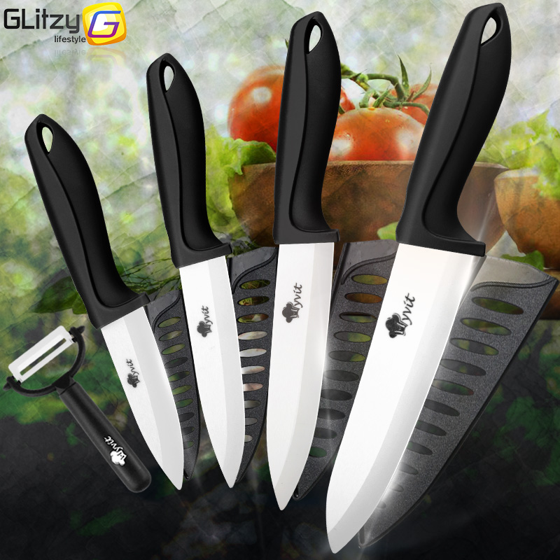 Ceramic Knife 3 4 5 6 inch Kitchen Chef Utility Slicer Paring Ceramic Knives Peeler Set White Zirconia Blade Cooking Cutter Tool