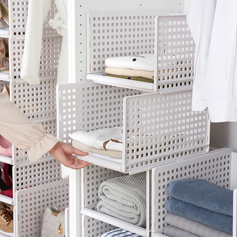 Drawer Type Clothes Folder Layered Separator Wardrobe Storage Rack Sundries Shelf Holder Space Saver Kitchen Bedroom Organizer