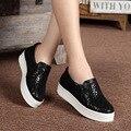 Las mujeres de Los Holgazanes Zapatos de Marca de Cuero de Las Mujeres Ocasionales de la Plataforma Zapatos de Los Planos De zapatos de Las Mujeres 2016 Señoras de La Manera Zapatos de Los Planos de Las Mujeres 2528