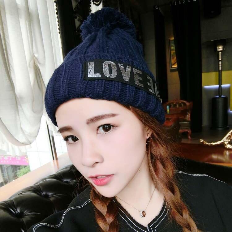 Kesebi Autumn Winter Female Casual Patchwork Skullies Beanies Women Korean Letters Thick Ball Labeling Warm Knitting Hats skullies