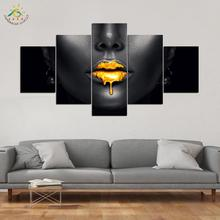 Gold Paints Lip Art Modern Canvas Prints Poster Wall Painting Home Decoration Artwork Pictures for Bedroom 3 PIECES