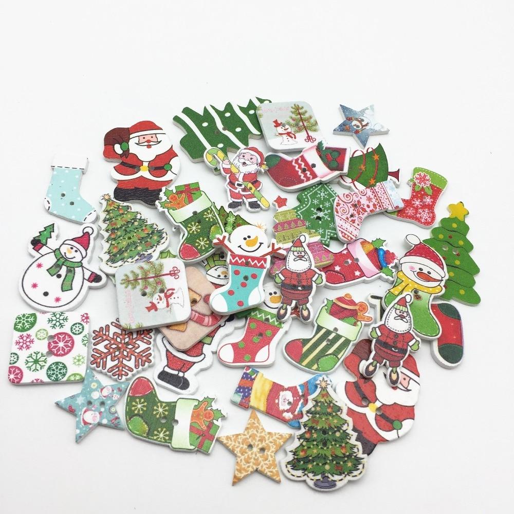 Button Christmas Trees: 200pcs Mixed Wood Stocking Star Snowman Santa Buttons 2