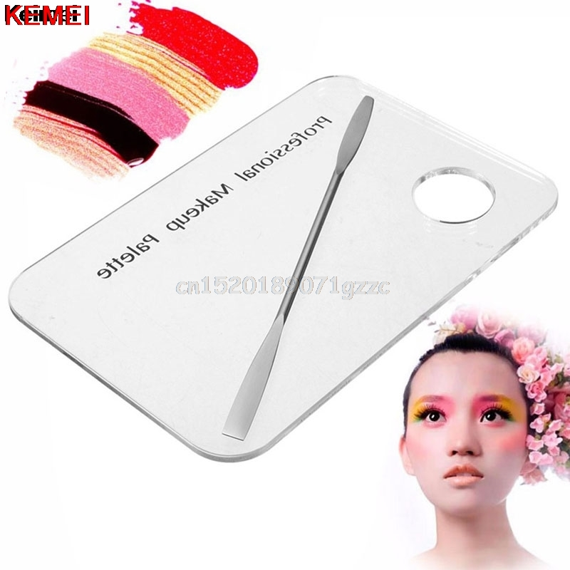 Cosmetic Acrylic Nail Art Makeup Polish Mixing Palette Stainless Steel Spatula #H027#