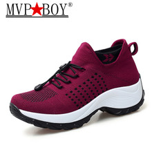 MVP BOY Women Shoes Flats Platform Sneakers Woman Slip-on Breathable Ladies Boat Shoes zapatillas mujer Plus size 35-42 black цена