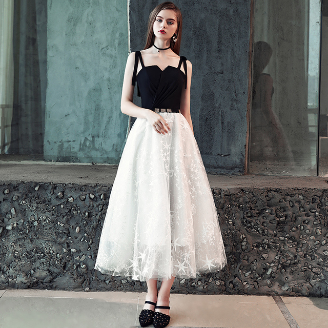 FADISTEE New arrival modern party dress evening dresses prom lace Vestido de Festa tea-length stars pleat elegant belt style