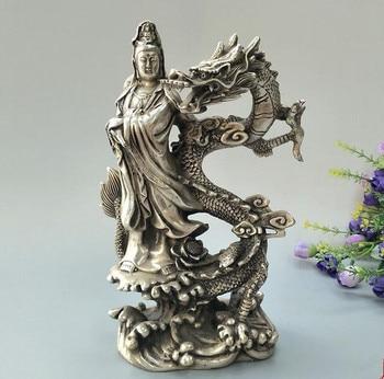 China collection archaize white copper Riding dragon Guanyin bodhisattva Buddha statue