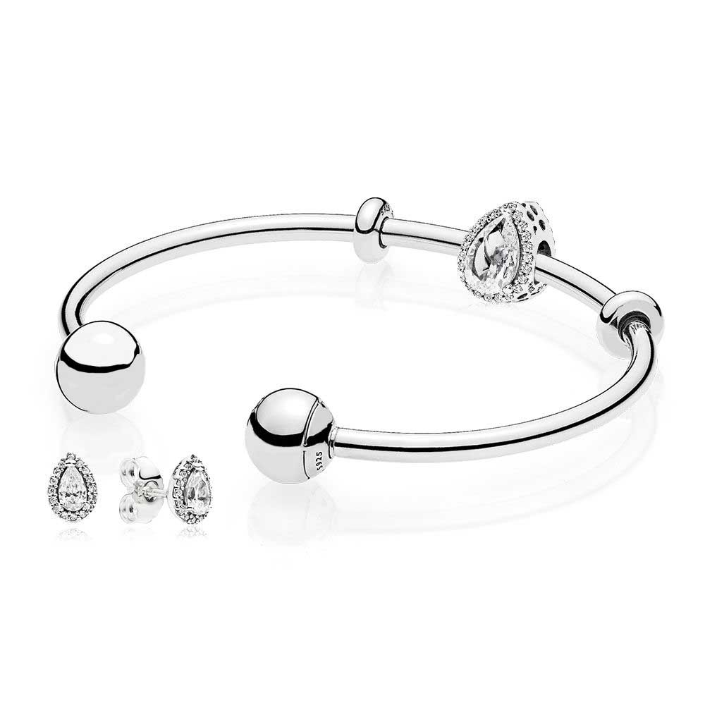NEW 925 Sterling silver Radiant Teardrop Open Bangle and Earrings Set Clear CZ fit DIY charm Bracelets jewelry A set of pricesNEW 925 Sterling silver Radiant Teardrop Open Bangle and Earrings Set Clear CZ fit DIY charm Bracelets jewelry A set of prices