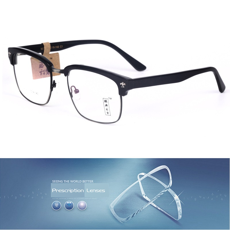 Vintage Wooden Grain Acetate glasses Men Women Black customize optical lens for Male Prescription 1.56 1.61 index anti blue ray