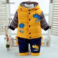 HYLKIDHUOSE 2017 Children Clothes Sets Winter Wear Baby Boys Suits Cartoon Hooded Coats Pants Infant Newborn