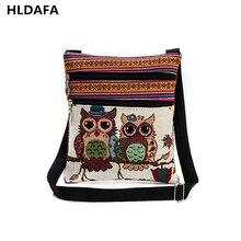 2017 Double Zipper Female Mini Flap Shoulder Handbags girls Cartoon Owl Printed Canvas Bags Women Small Shoulder Messenger Bags