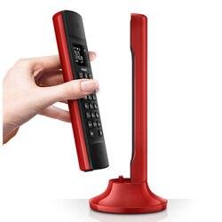 ECO Linea Design Cordless Phone with 1.6-Inch Display White Backlight and Speakerphone Digital Landline Telephones Red Black