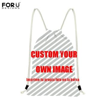 80d3eb6374f1 FORUDESIGNS/пользовательские фотографии/логотип/печать изображений мешки с  Кулиской Diy ваши рюкзаки детские подарки Путешествия пляжный мешок