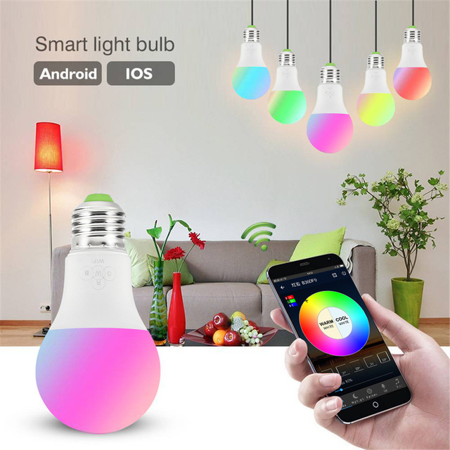 Luz Led RGBW azul mágica bombilla WIFI iluminación inteligente lámpara Bluetooth cambio de Color regulable para Alexa Google Home