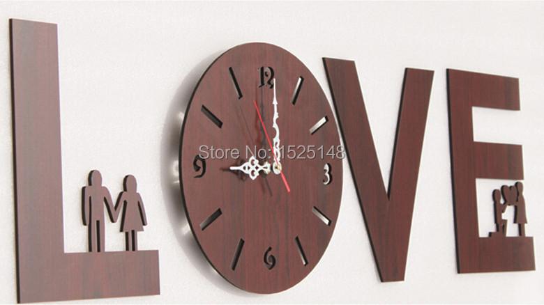 Creative Idyllic Wooden Wall Clock For Home Decoration Modern Love Watches Waterproof Decorative Design In Clocks From Garden On