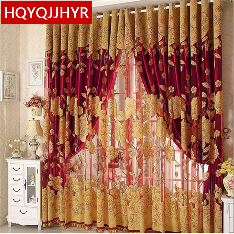1 Pc Curtain And 1 Pc Tulle Peony Luxury Window Curtains: (1PC Curtain Cloth+1PC Tulle)European Luxury Burnout Set