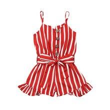 Kid Baby Girl Clothes Sleeveless Stripe Print Romper