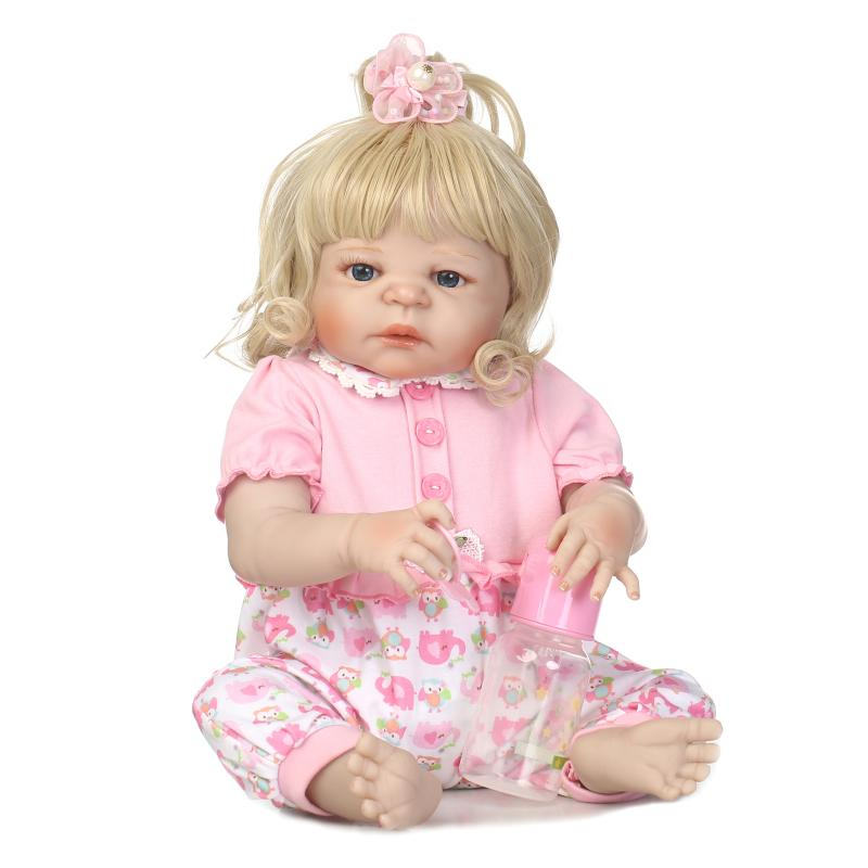 55cm Full Silicone Reborn Baby Princess Doll With Blond Hair Toys Realistic Newborn Babies Doll Birthday Present BeBe Gift