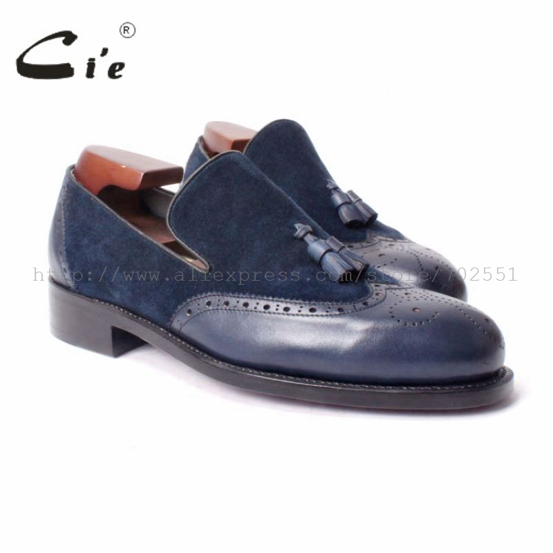 cie Free Shipping Handmade men s Round Toe Tassel Slipper on Leather Goodyear Welt Craft Shoe