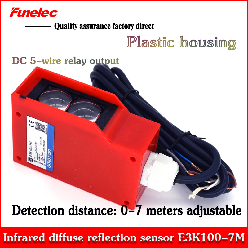E3K100-7MDC Photoelectric Switch Long-range Diffuse Reflection Infrared Photoelectric Sensor DC 5-wire Relay Output
