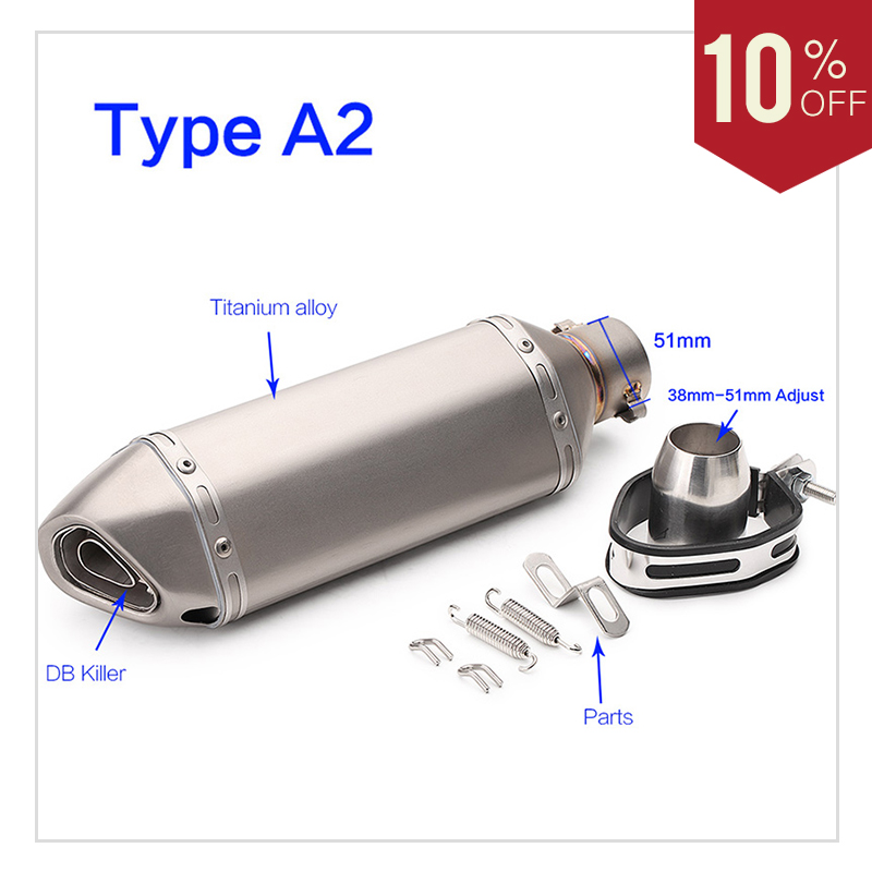 Universal 51mm Motorcycle Exhaust Pipe Moto Titanium alloy Muffler System Racing Escape With DB Killer For Z900 MT07 FZ6 CB400
