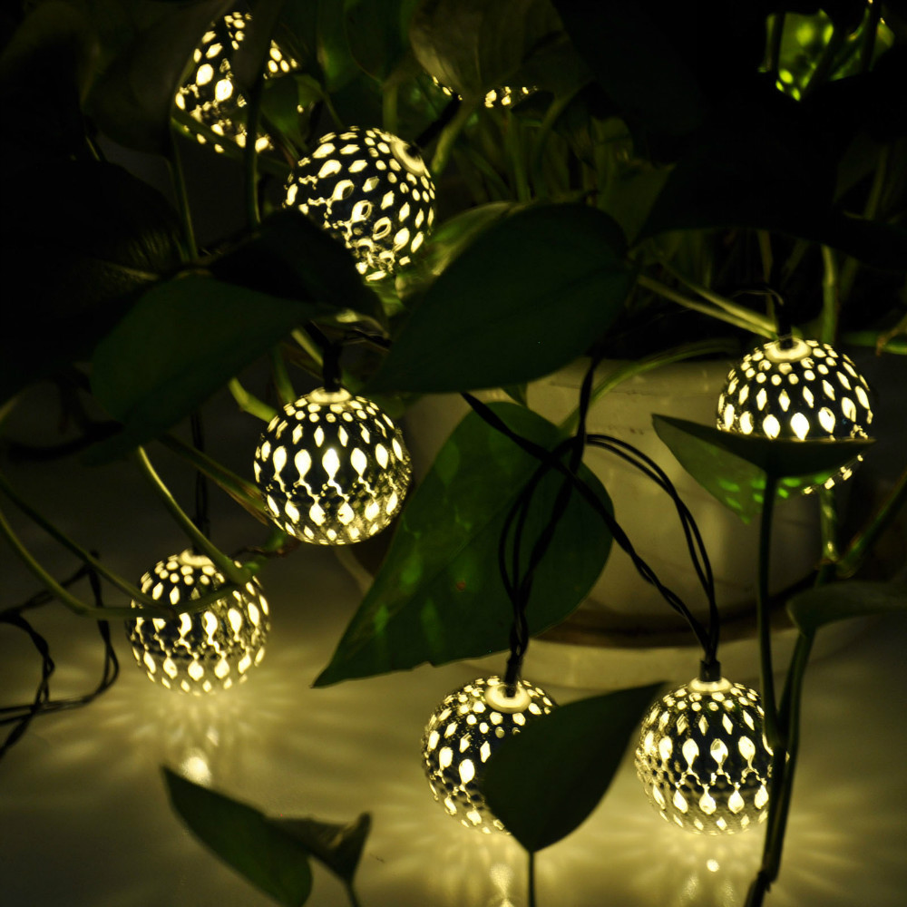 warm white 10 ballsset wholesale moroccan string led fairy lights christmas decoration led lamp solar powered halloween in solar lamps from lights