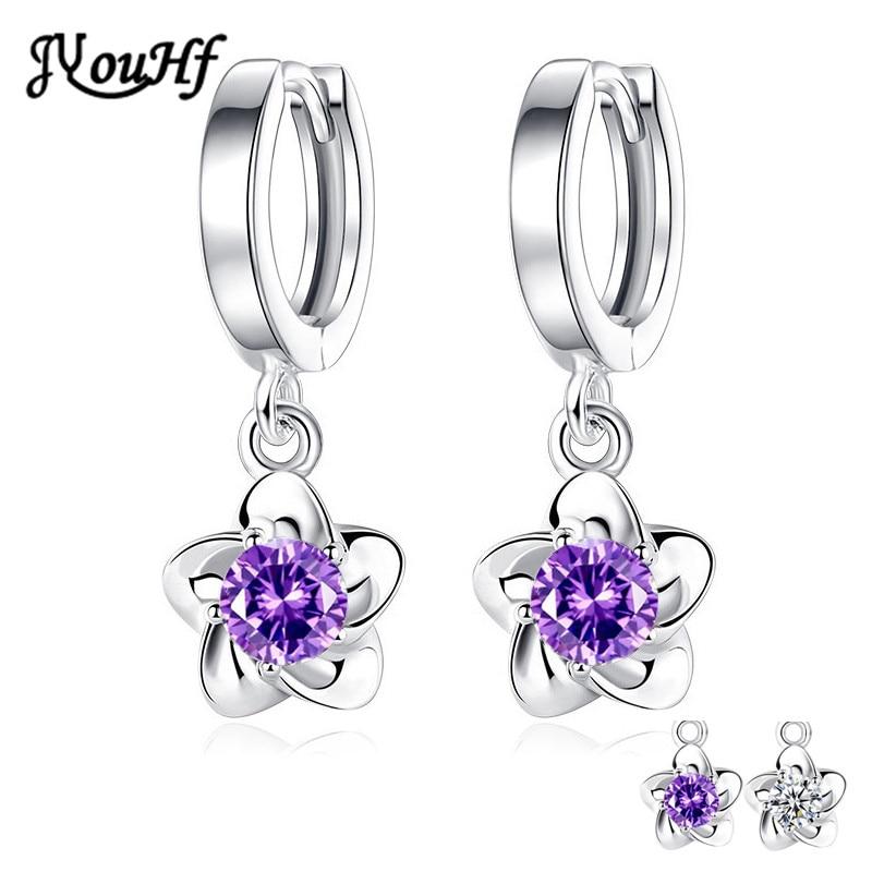 Flower Drop CZ Zircon Crystal Earrings for Women  1