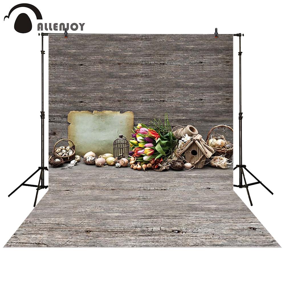Allenjoy photography backdrop Easter egg Wooden flower brown basket baby shower children background photo studio photocall