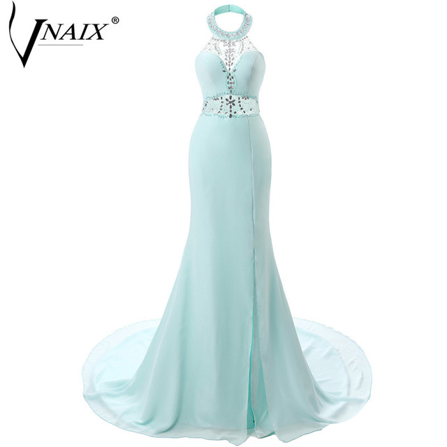 Vnaix E1176 Cheap Long Evening Dress Halter with Beading Side Slit Mermaid Prom Party Special Occasion Dresses