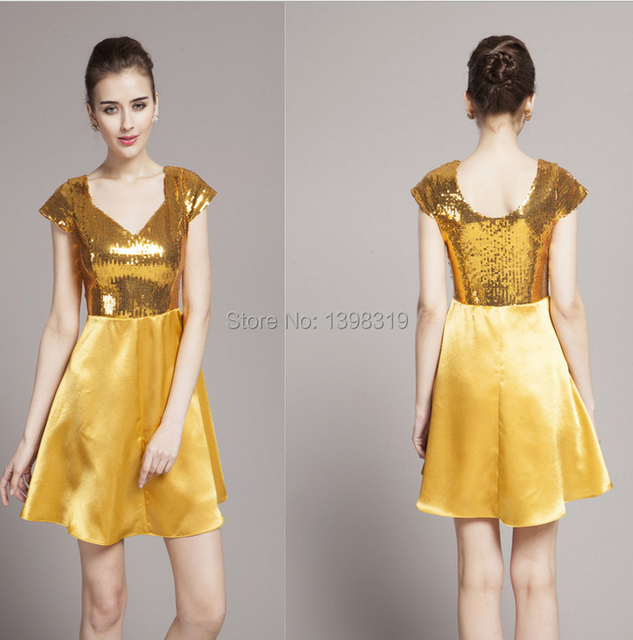ec3c09d7e1830 US $88.0 |Free shipping !!! Christmas Gift Uinque V Neck Cocktail/Bar Shiny  Prom/Ball/Host Dress/Gowns Gold Gown Thanks Giving Day -in ...