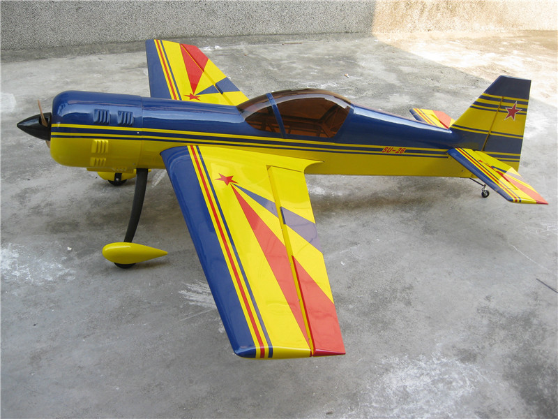 Wood RC Fixed Wing Gas Airplane 88.9in/2260mm SU-26 50cc 3D Aerobatic Wooden Flight Model Yellow zyhobby mxs r extra330 50cc fixed wing arf rc airplane 3d flight