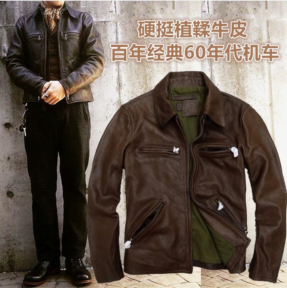 2017 men's punk style motorcycle coat jacket genuine real cowhide leather vintage retro finishing western cowboy brown xxxl 2xl