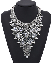 2019 New Antique Crystal Gem Luxury Bridal Rhinestone Vintage Maxi Statement Necklace Collar Women Bijoux Accessory charming geometric colored artificial gem rhinestone fake collar necklace and earrings for women