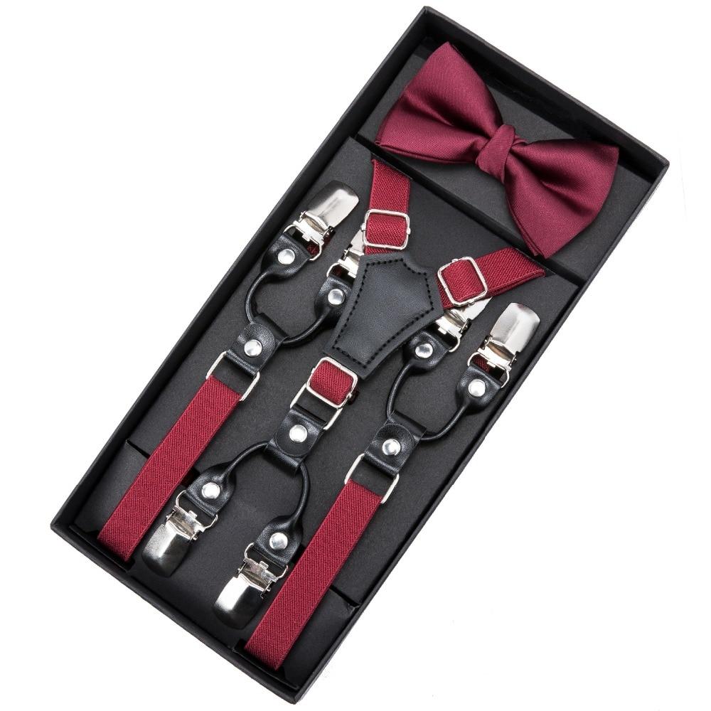DiBanGu Kids Red Suspenders & Bow Tie Matching Tuxedo Suit Boy Girl Bowtie Children Cyan Color Adjustable Y-Back Brace Belt