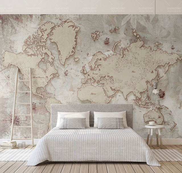 Large World Map Wallpaper Murals Decor 3d Wall Photo Mural For