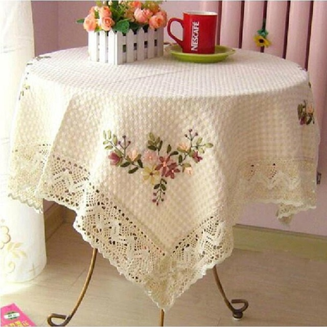 TC012 Beige Color Pastoral Style Cover For Table Cotton Wedding Tablecloth  Home Party Table Clothes High