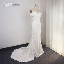 Basit krep kılıf düğün elbisesi zarif gelin kıyafeti yüksek kaliteli kapalı omuz 2020 yeni stil