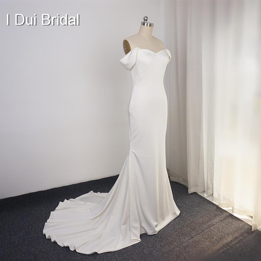 Simple Satin Wedding Dress Sheath Pure Bridal Gown High Quality