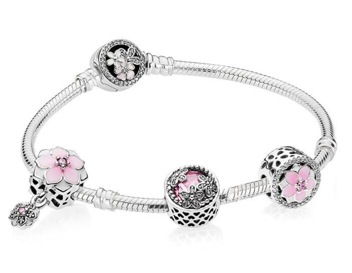 Original 925 Sterling Silver Strand Bracelets Enamel Magnolia Bloom With Crystal Beads Pandora Bracelet Bangle DIY Jewelry