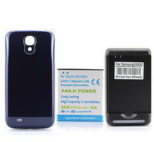 5600mAh Extended Battery + Blue Back Cover Case + USB Wall Charger For Samsung Galaxy S4 SIV i9500 Free Ship Wholesale