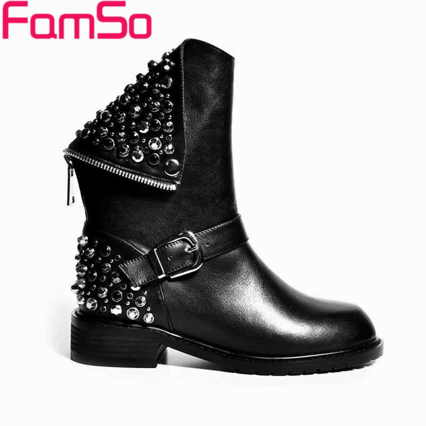 ФОТО Free shipping 2017 New Sexy Lady Black Genuine Leather Boots Buckle Designer Martin Boots Winter Female Snow Boots ZWB1572