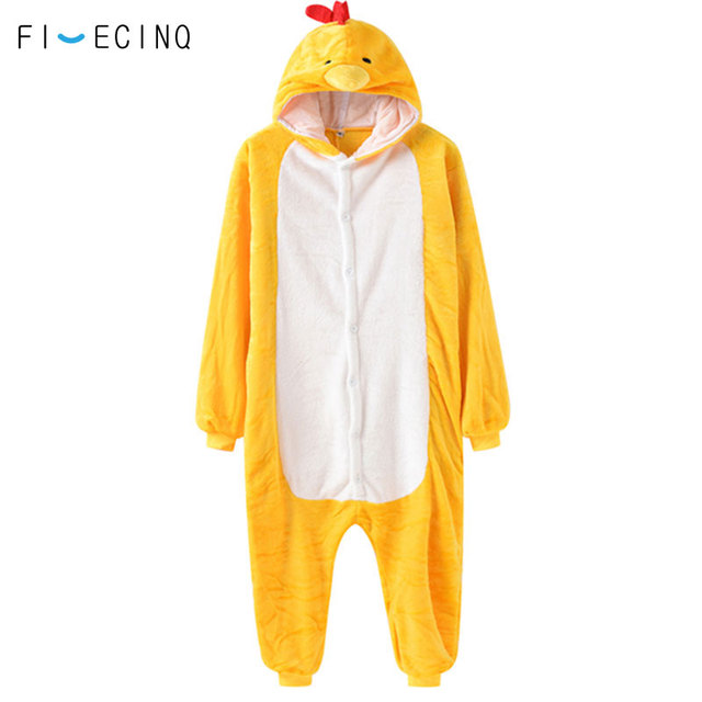 57cb0e5a725 Animal Chicken Cosplay Costume Yellow Cartoon Cock One Piece Pajama  Jumpsuit Couple Men Women Adult Onesie Winter Thick Fancy
