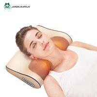 JinKaiRui Neck Massage Pillow Infrared Heating Shiatsu Massager Device Kneading Massage with wave curve design healthy Massagea