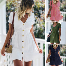 Womens Summer Dress Solid Color V-neck Four colors available