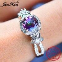 JUNXIN Mystery Rainbow Round Zircon Flower Rings For Women Real 925 Sterling Silver Jewelry Fashion Female Girls Wedding Rings