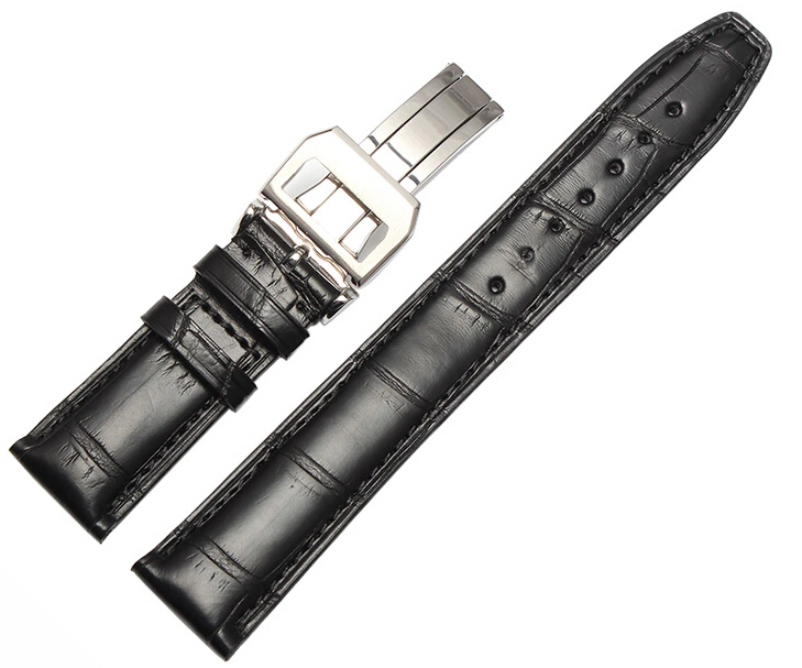 New Brand Watchband 20mm 22mm New Men Top Grade Black Cowhide Genuine Leather Watch Band Strap Bracelets